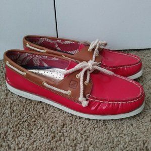 Sperry Red Patent Leather Boat Shoes Lace Up 10 M